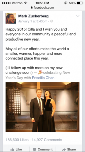 Mark Zuckerberg's first post in 2015 highlighted his  desire to increase connectivity