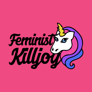 Rainbow Unicorn Logo on a Feminist Killjoy t-shirt